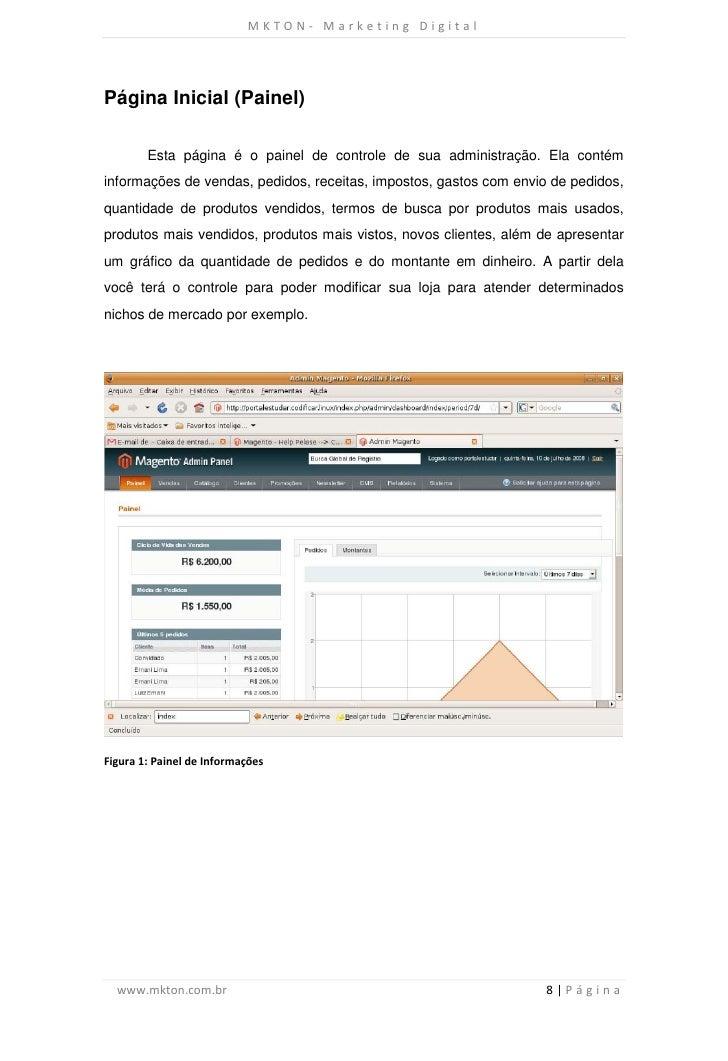 MKTON- Marketing DigitalPágina Inicial (Painel)        Esta página é o painel de controle de sua administração. Ela contém...