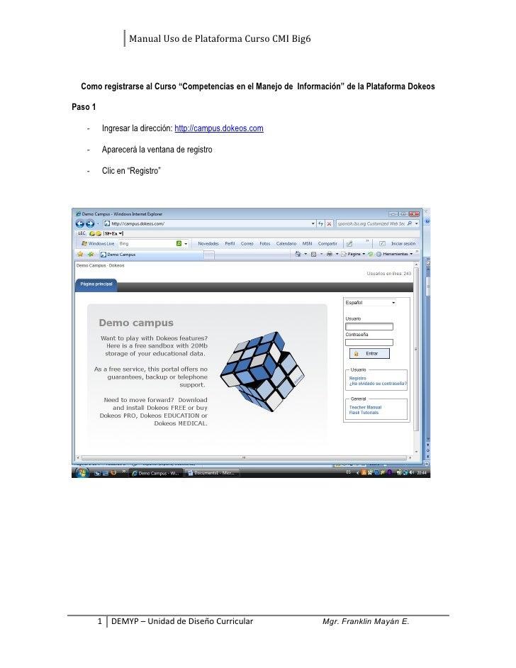 """Manual Uso de Plataforma Curso CMI Big6  Como registrarse al Curso """"Competencias en el Manejo de Información"""" de la Plataf..."""