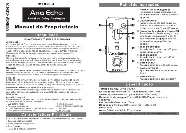 Manual do pedal Mooer MAEAD Ana Echo (PORTUGUÊS)