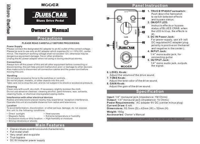 Manual do pedal Mooer MBCBD Blues Crab (PORTUGUÊS)