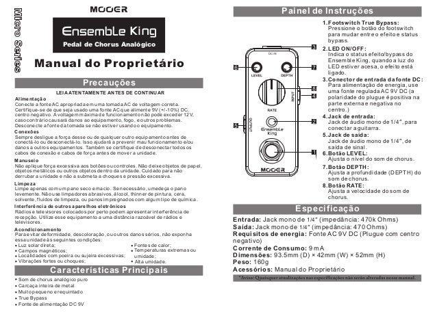 Manual do pedal Mooer MCH1 Ensemble King (PORTUGUÊS)