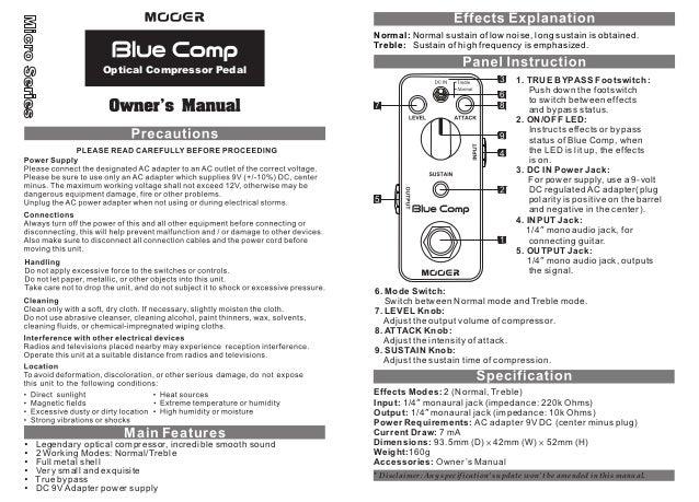 Manual do pedal Mooer MCS1 Blue Comp (PORTUGUÊS)