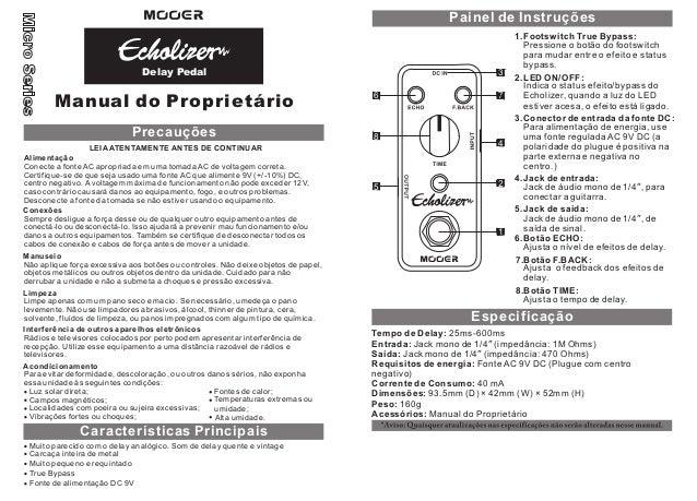 Manual do pedal Mooer MDL3 Echo Lizer (PORTUGUÊS)