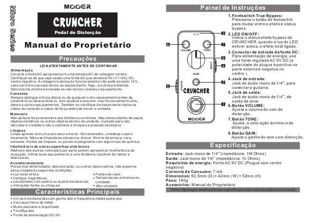 Manual do pedal Mooer MDS3 Cruncher (PORTUGUÊS)