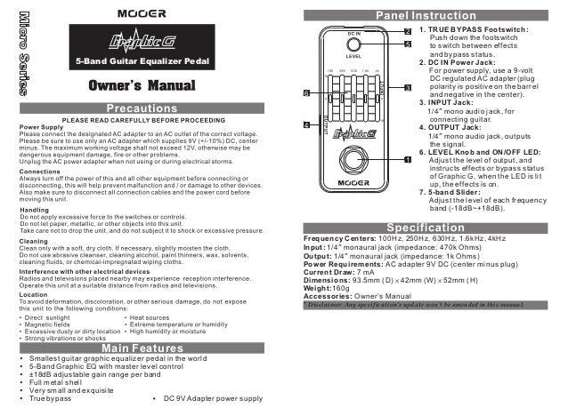 Manual do pedal Mooer MEQ1 Graphic G (PORTUGUÊS)