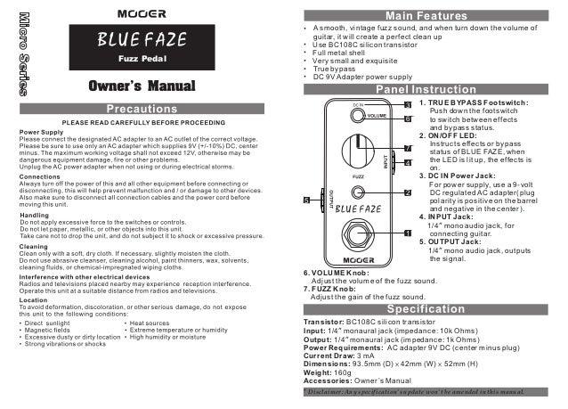 Manual do pedal Mooer MFZ1 Blue Faze (PORTUGUÊS)