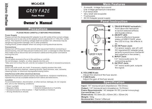 Manual do pedal Mooer MFZ3 Grey Faze (PORTUGUÊS)