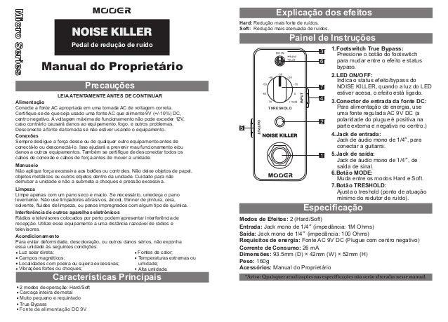Manual do pedal Mooer MNR1 Noise Killer (PORTUGUÊS)