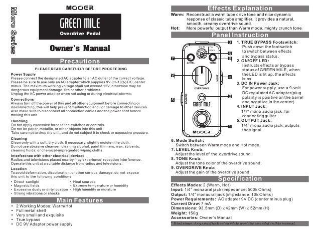 Manual do pedal Mooer MOD1 Geen Mile (PORTUGUÊS)