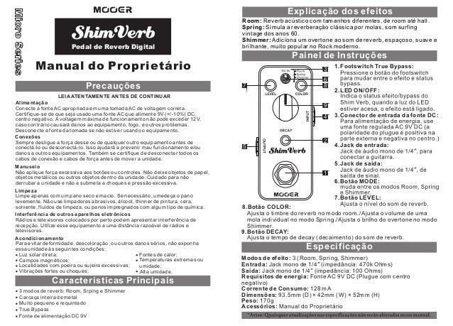 Manual do pedal Mooer MRV1 Shim Verb (PORTUGUÊS)