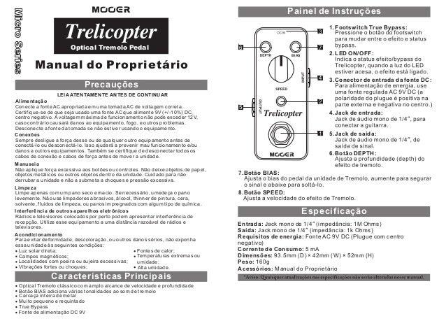 Manual do pedal Mooer MTR1 Trelicopter (PORTUGUÊS)
