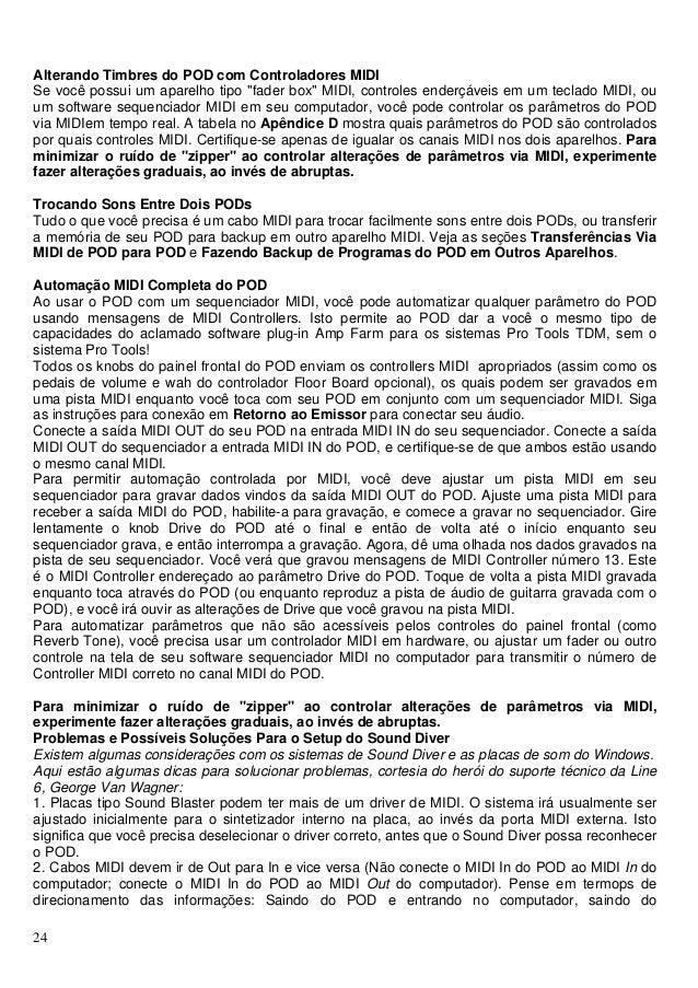 Manual do processador de efeito Line 6 POD US (PORTUGUÊS)