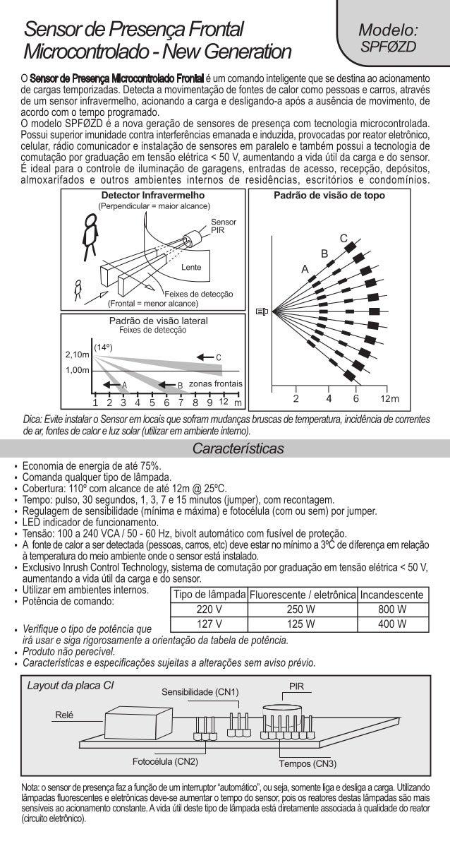 """Sensor de Presença Frontal Modelo:  Microcontrolado-New Generation SPFW""""  O Sensor de Presença Microoontrolado Frontal é u..."""