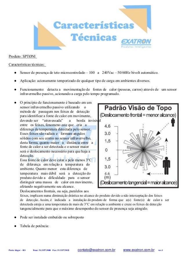 Produto: SPTØNI Características técnicas:  Sensor de presença de teto microcontrolado – 100 a 240Vac – 50/60Hz bivolt au...