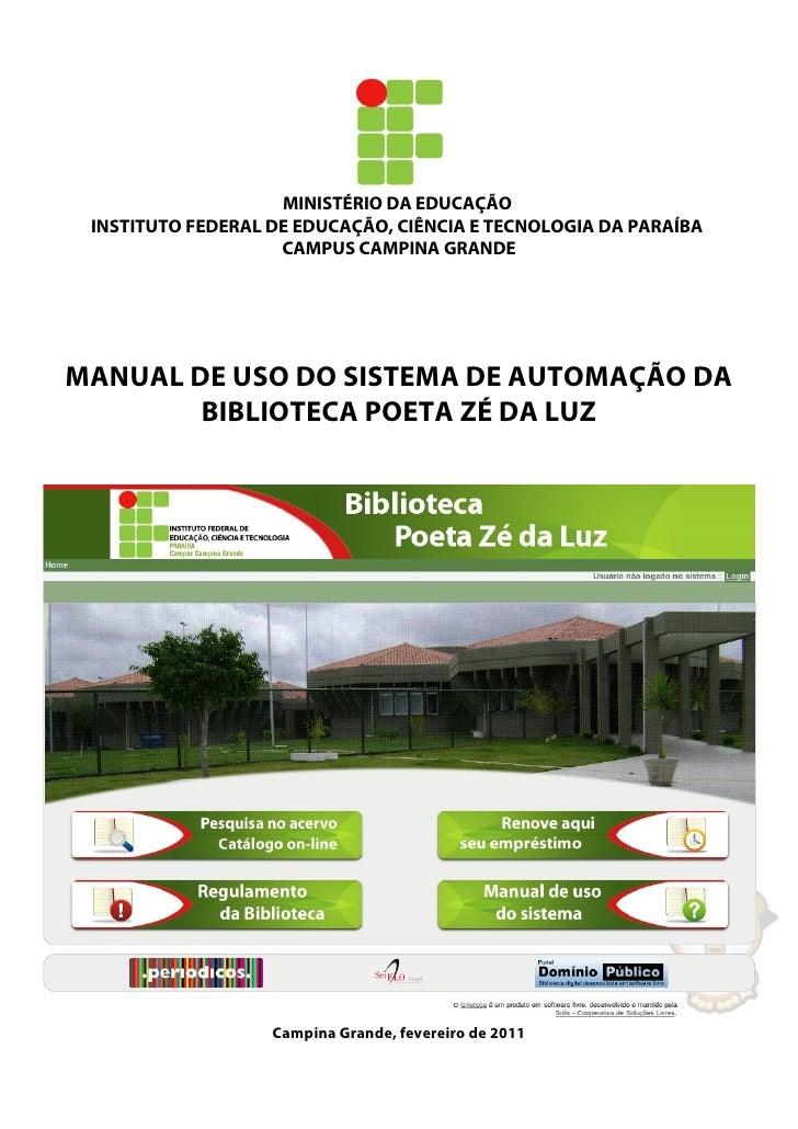 MINISTÉRIO DA EDUCAÇÃO INSTITUTO FEDERAL DE EDUCAÇÃO, CIÊNCIA E TECNOLOGIA DA PARAÍBA                    CAMPUS CAMPINA GR...