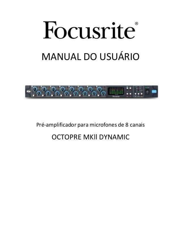 focusrite octopre mkii dynamic manual