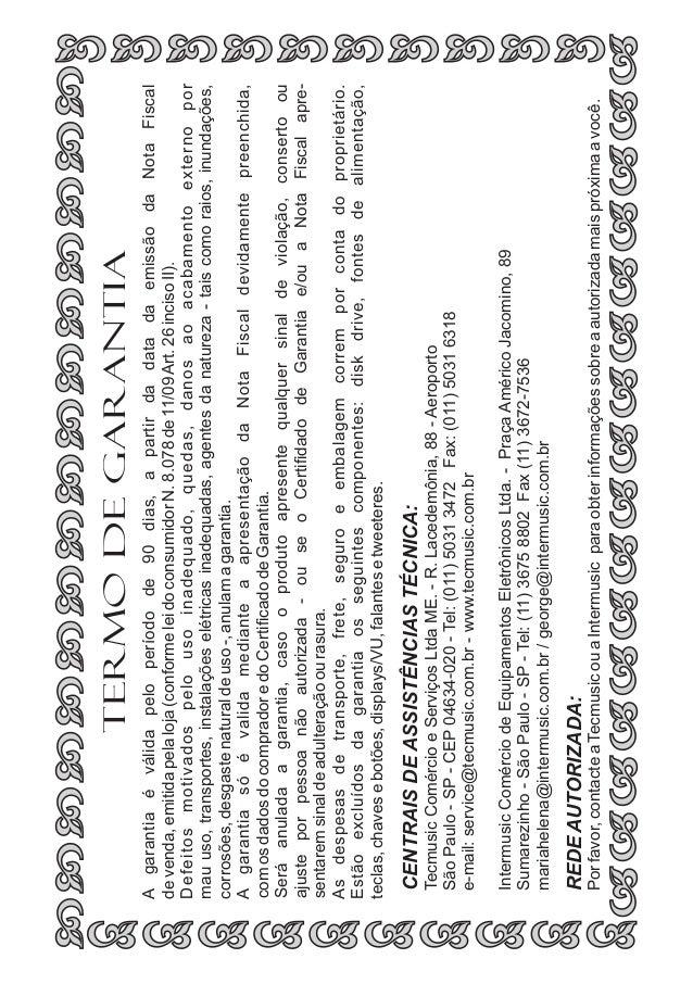 Manual do Warwick Sweet 15.3 e 25.2 (PORTUGUÊS)