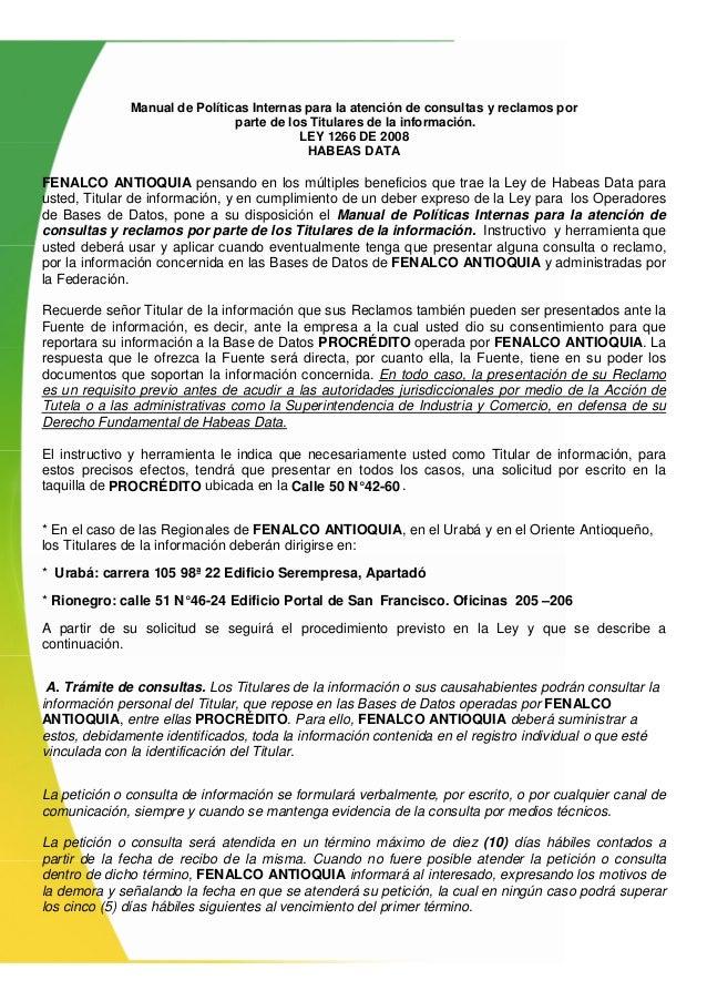 Manual de Políticas Internas para la atención de consultas y reclamos por parte de los Titulares de la información. LEY 12...