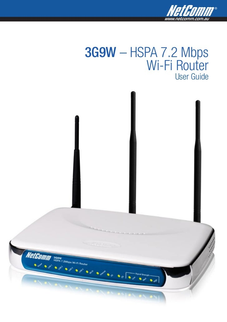 3G9W – HSPA 7.2 Mbps         Wi-Fi Router               User Guide