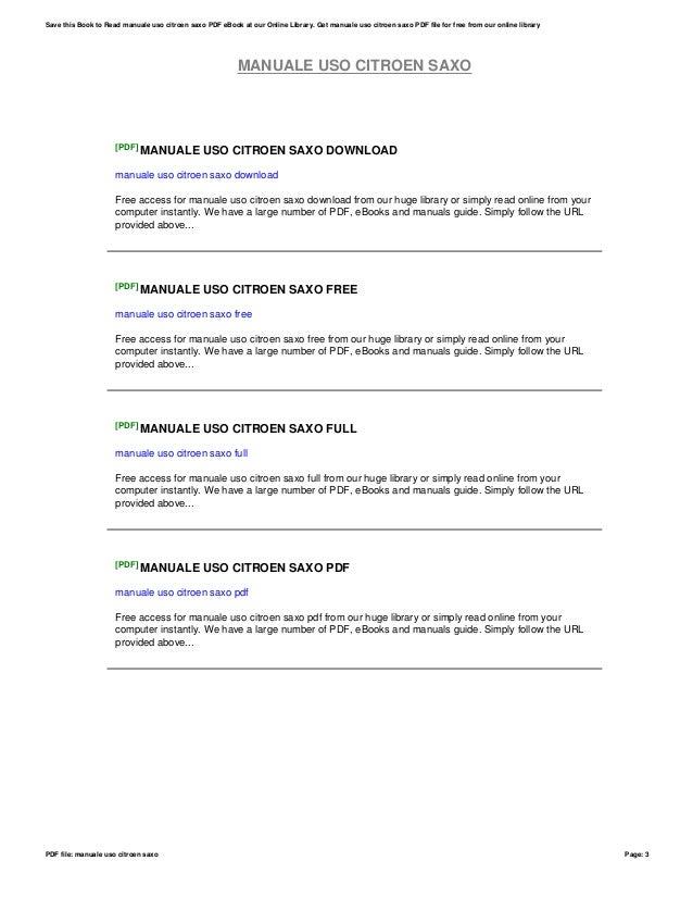manuale uso citroen saxo rh slideshare net Citroen Saxo Venda manuale uso e manutenzione citroen saxo