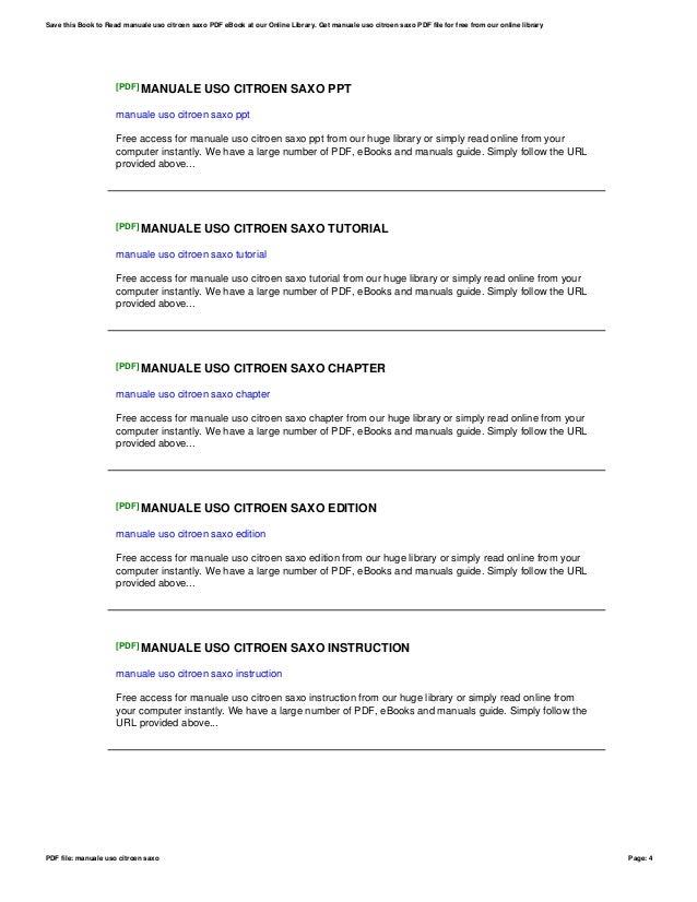 manuale uso citroen saxo rh slideshare net manuale uso e manutenzione citroen saxo Citroen Xantia