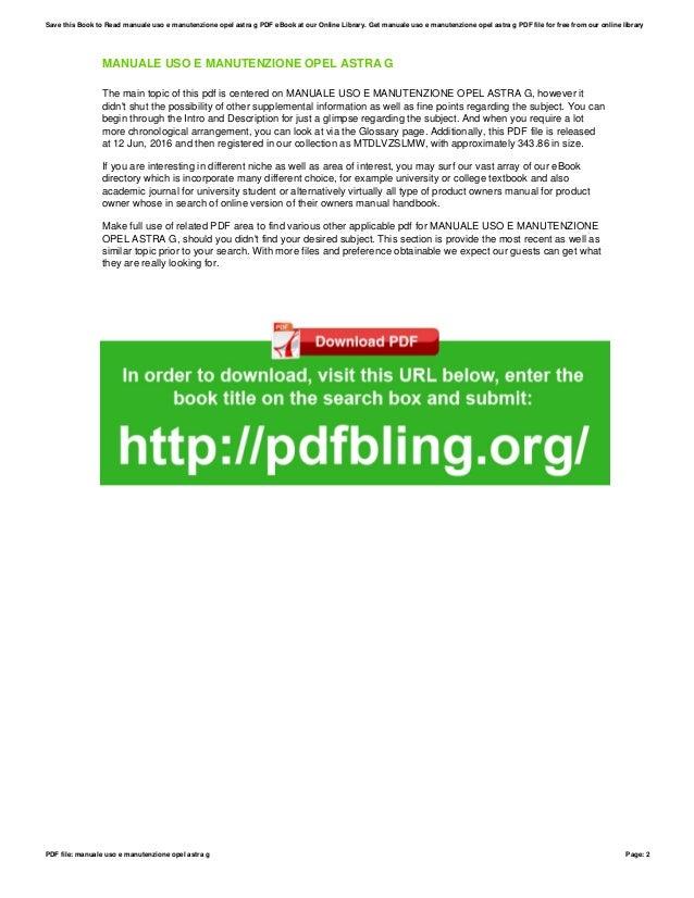 manuale uso e manutenzione opel astra g