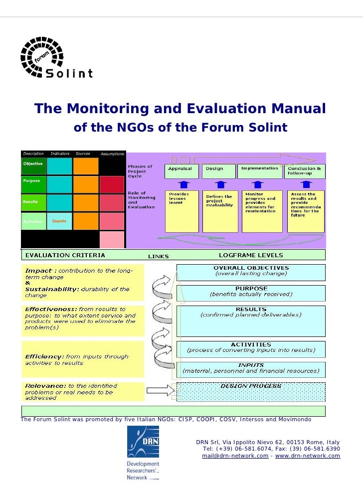 The Monitoring and Evaluation Manual                 of the NGOs of the Forum Solint     The Forum Solint was promoted by ...