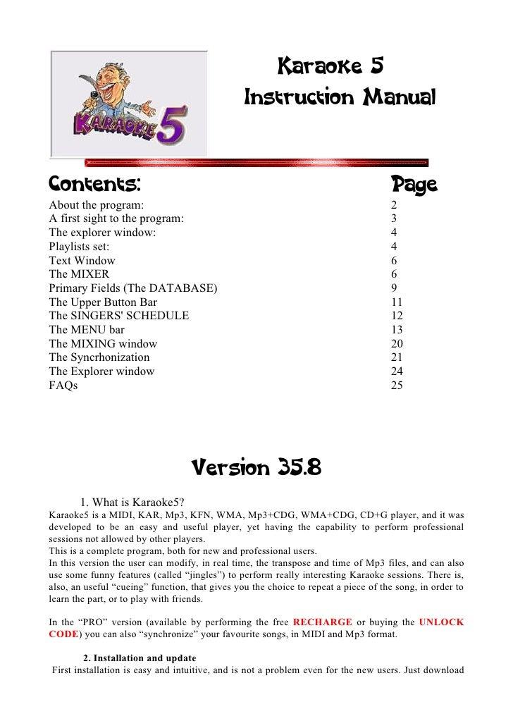 Karaoke 5                                                 Instruction Manual   Contents:                                  ...