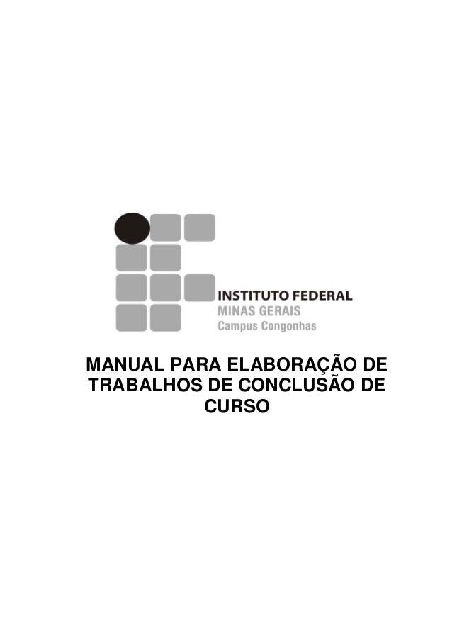MANUAL PARA ELABORAÇÃO DE TRABALHOS DE CONCLUSÃO DE CURSO