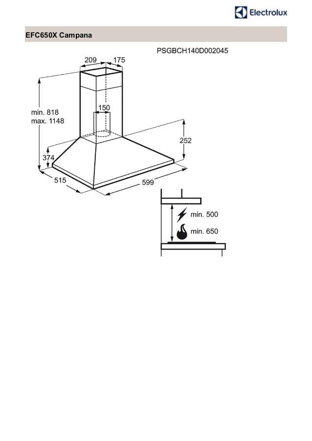 Manual electrolux campana efc650x