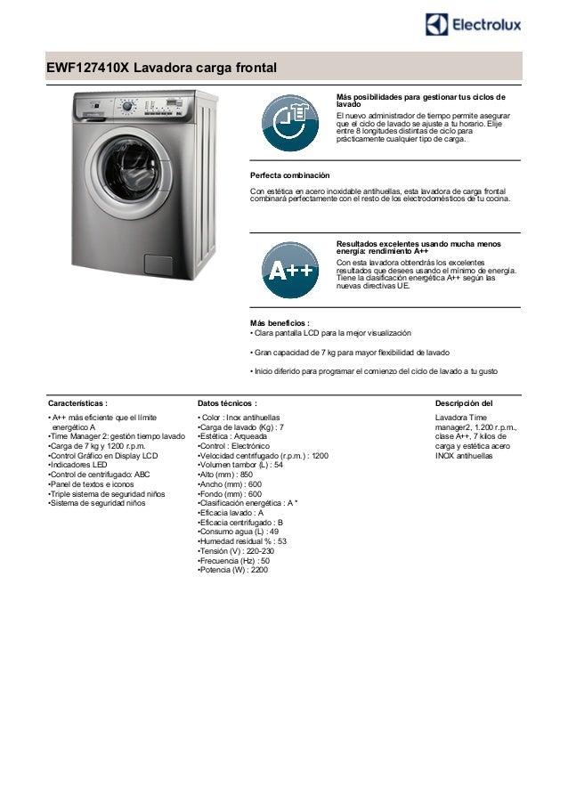 EWF127410X Lavadora carga frontal Más posibilidades para gestionar tus ciclos de lavado El nuevo administrador de tiempo p...