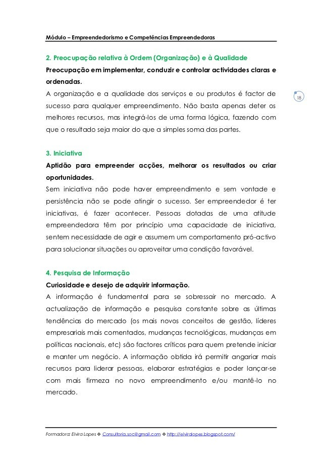 Módulo – Empreendedorismo e Competências Empreendedoras2. Preocupação relativa à Ordem (Organização) e à QualidadePreocupa...