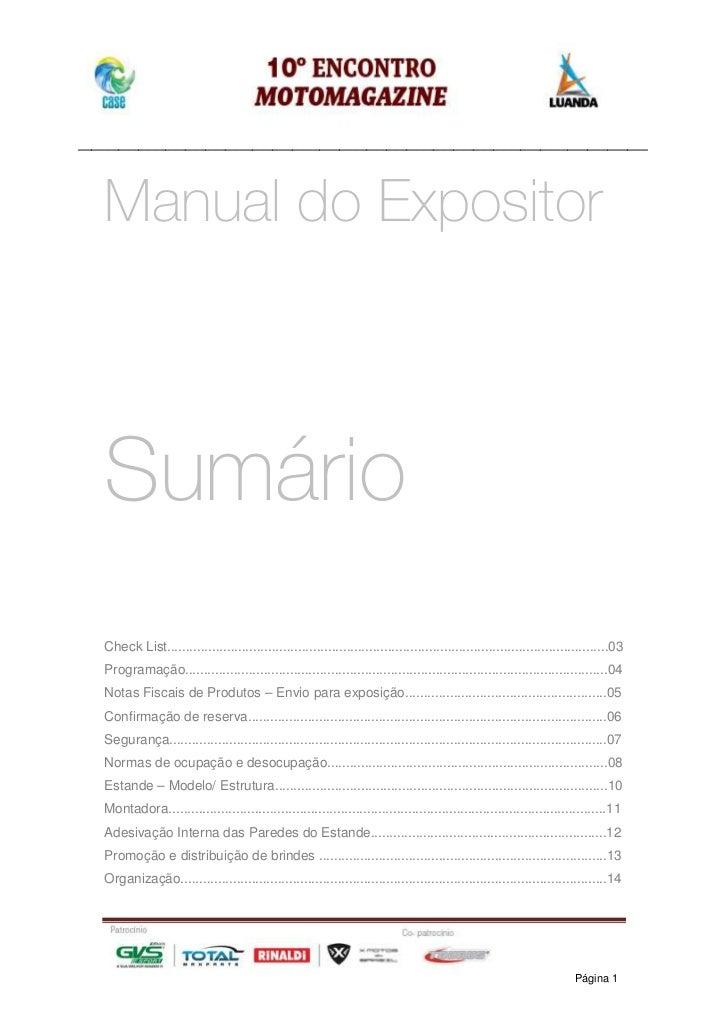_____________________________________________________________________________________   Manual do Expositor   Sumário   Ch...