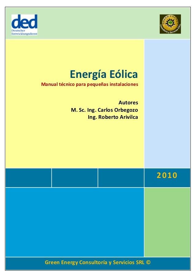 Energía Eólica             Manual técnico para pequeñas instalaciones                                                     ...