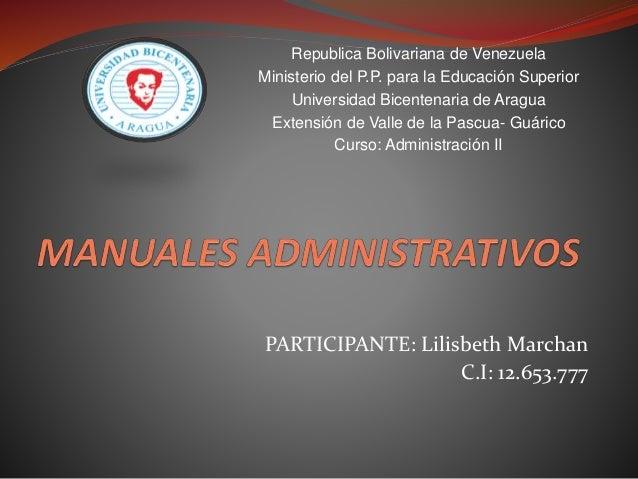 PARTICIPANTE: Lilisbeth Marchan C.I: 12.653.777 Republica Bolivariana de Venezuela Ministerio del P.P. para la Educación S...