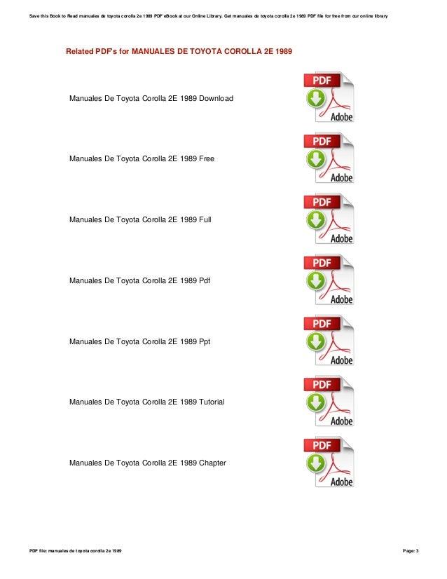 manuales de toyota corolla 2e 1989 rh slideshare net