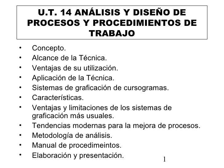 U.T. 14 ANÁLISIS Y DISEÑO DE    PROCESOS Y PROCEDIMIENTOS DE                TRABAJO•   Concepto.•   Alcance de la Técnica....