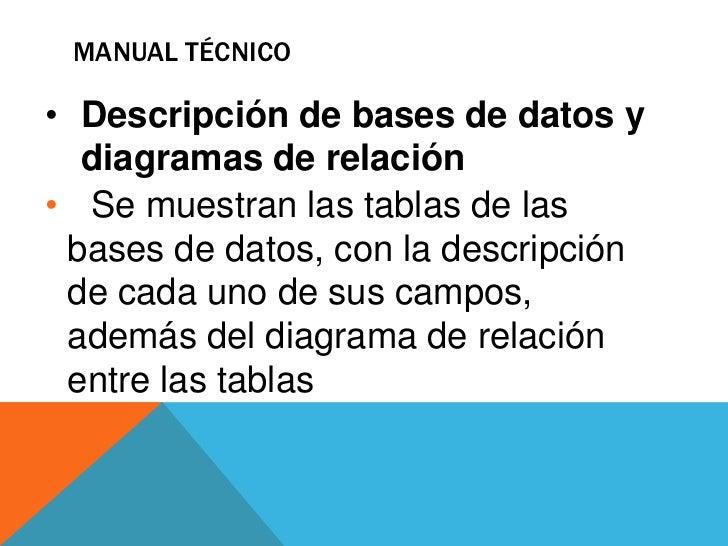 Manual técnico<br />Debe contener:<br /><ul><li>Objetivo y alcances del sistema