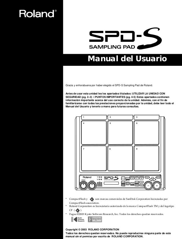manual espa ol roland spd s rh es slideshare net roland spd-s instruction manual roland spd-s owners manual
