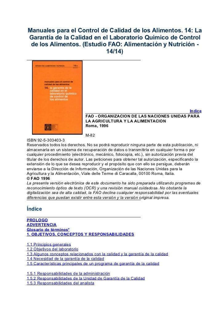 Manuales para el control de calidad de los alimentos