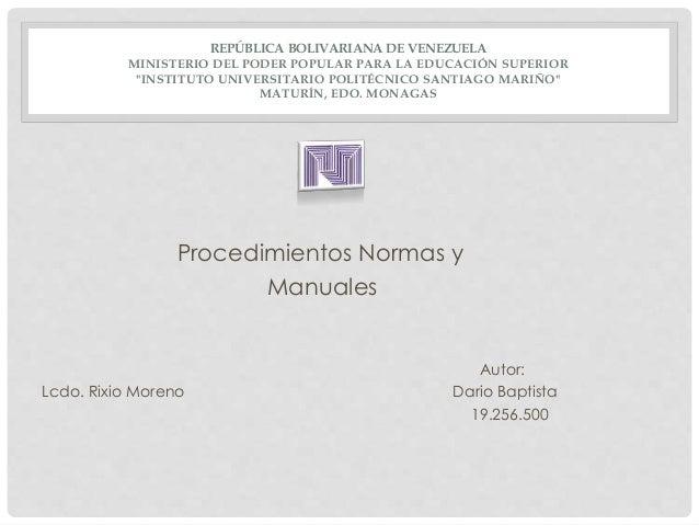 """REPÚBLICA BOLIVARIANA DE VENEZUELA MINISTERIO DEL PODER POPULAR PARA LA EDUCACIÓN SUPERIOR """"INSTITUTO UNIVERSITARIO POLITÉ..."""
