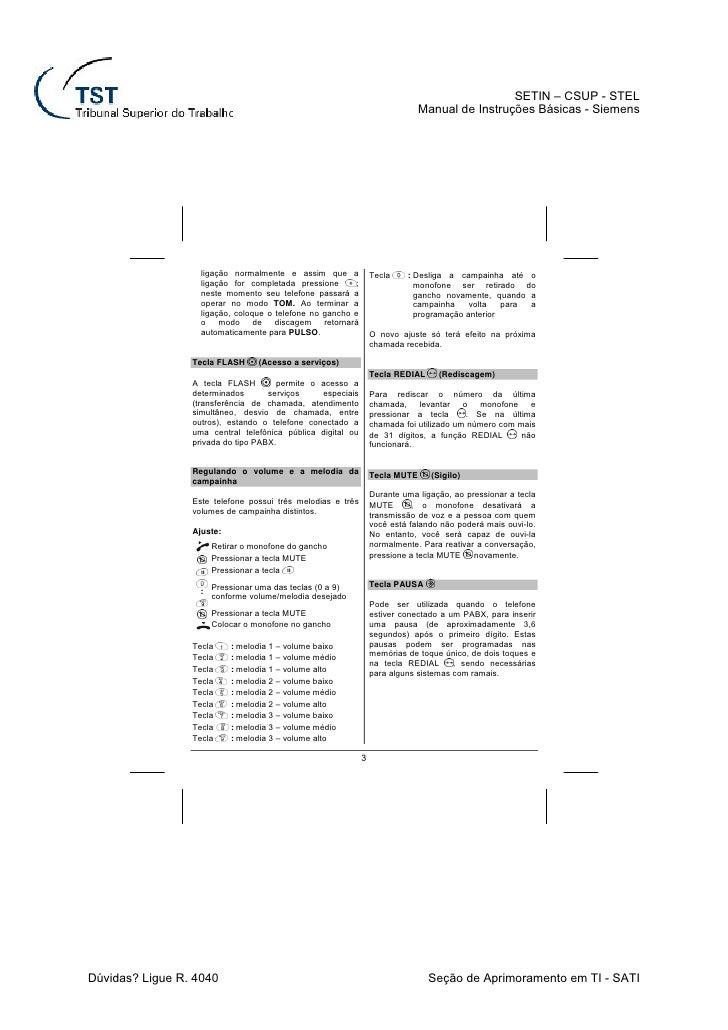 volume aparelho siemens euroset 3005