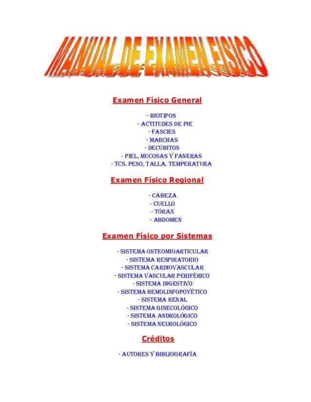 Examen Físico General                - BIOTIPOS            - ACTITUDES DE PIE                 - FASCIES                - M...