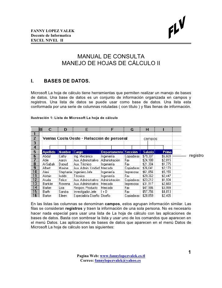 FANNY LOPEZ VALEKDocente de InformaticaEXCEL NIVEL II                      MANUAL DE CONSULTA                  MANEJO DE H...