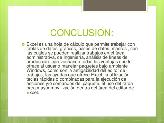 Manual excel for Conclusion de un vivero