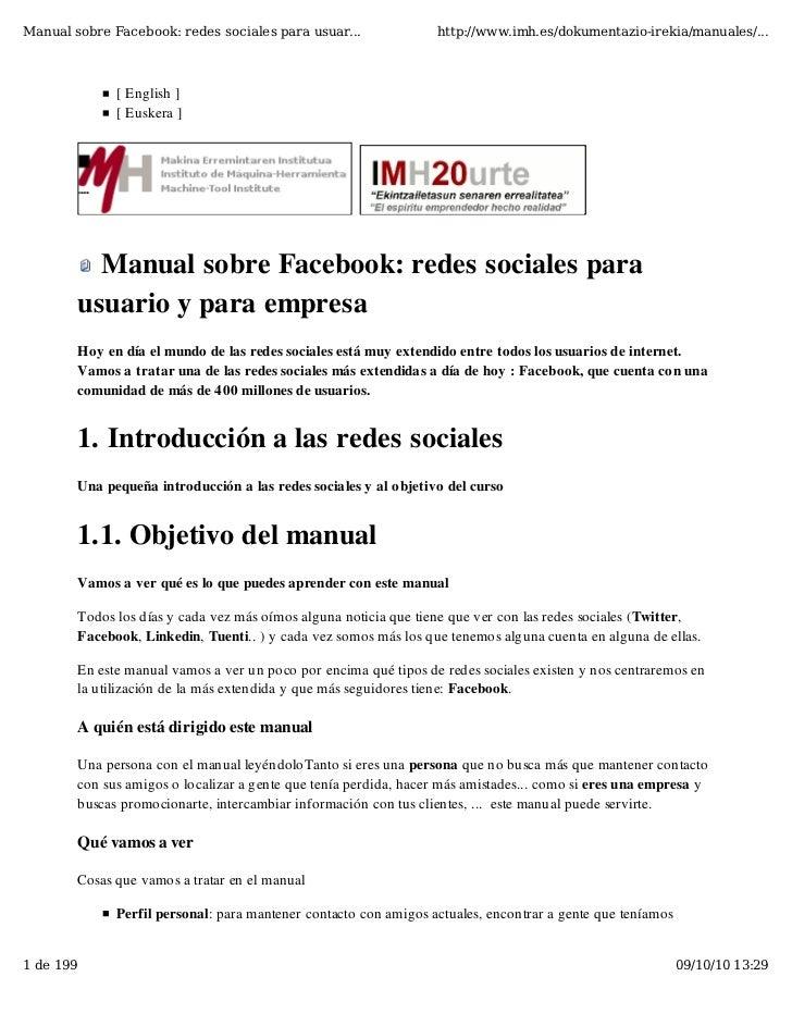 Manual sobre Facebook: redes sociales para usuar...               http://www.imh.es/dokumentazio-irekia/manuales/...      ...
