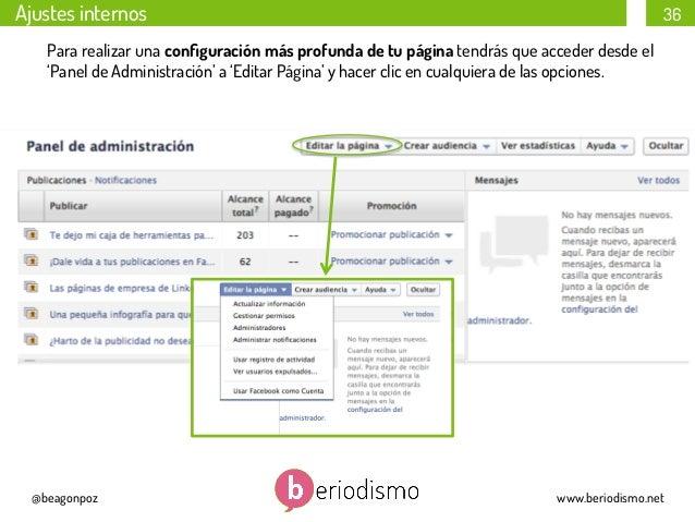 Ajustes internos  36  Para realizar una configuración más profunda de tu página tendrás que acceder desde el 'Panel de Admi...