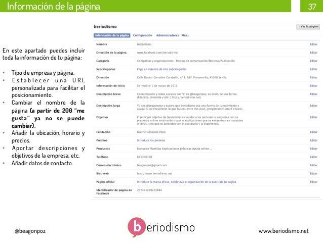 Información de la página  37  En este apartado puedes incluir toda la información de tu página: • Tipo de empresa y págin...