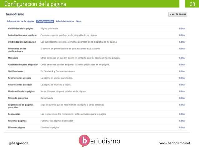 Configuración de la página  @beagonpoz  38  www.beriodismo.net