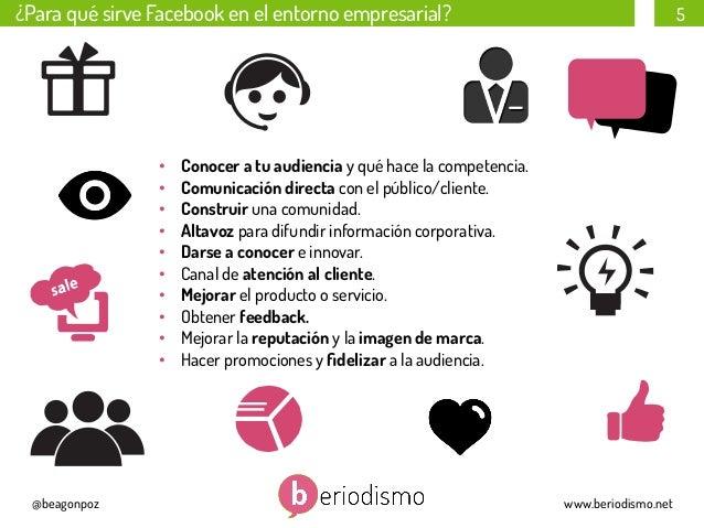 ¿Para qué sirve Facebook en el entorno empresarial?  • • • • • • • • • •  @beagonpoz  5  Conocer a tu audiencia ...